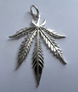 Sterling Silver Large Cannabis Leaf Pendant 5.1g